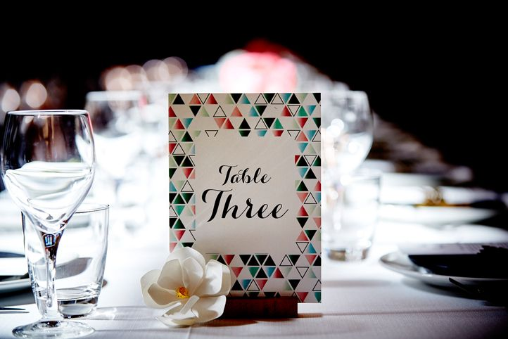 LETTUCE & CO - STYLE. EAT. PLAY 'viv + lachy - modern art deco'. custom designed stationery. table numbers on wooden card holders. paper magnolia flower. geo details. wedding reception @ northcote town hall. concept, design and wedding styling by lettuce & co