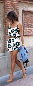 #summer #fashion / neon panther print playsuit