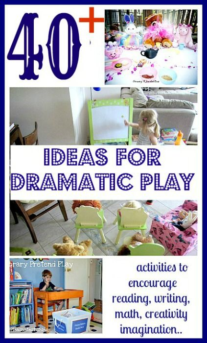 A big collection of dramatic play ideas that encourage reading, writing, math, vocabulary, conversation skills, creativity and imagination. #ece #preschool from www.blogmemom.com