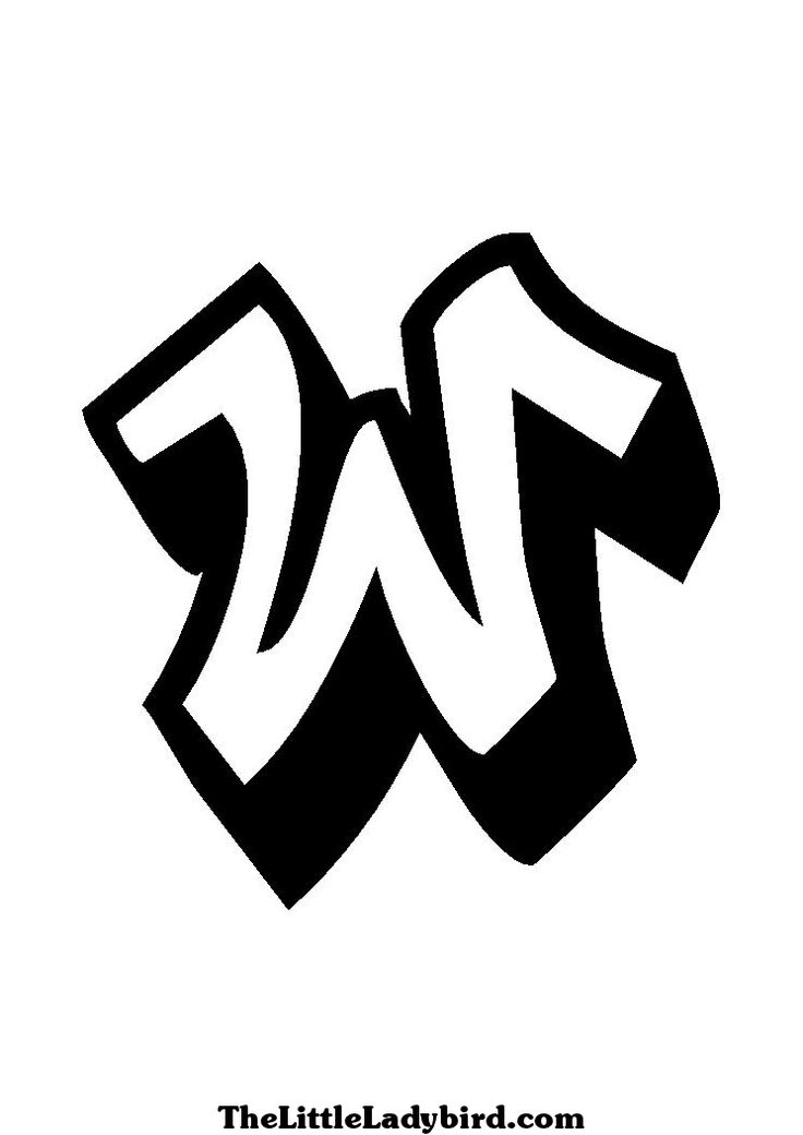 letter w coloring page of graffiti of the letter w