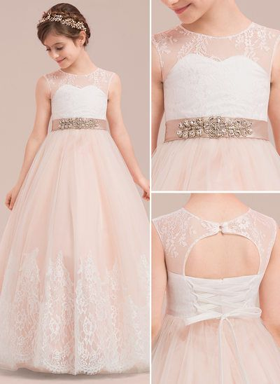 6a3b997b66 Ball Gown Floor-length Flower Girl Dress - Satin Tulle Lace Sleeveless Scoop  Neck With Rhinestone (010143277)