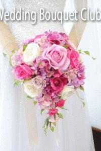 ピンクのバラとアジサイのオーバルブーケ