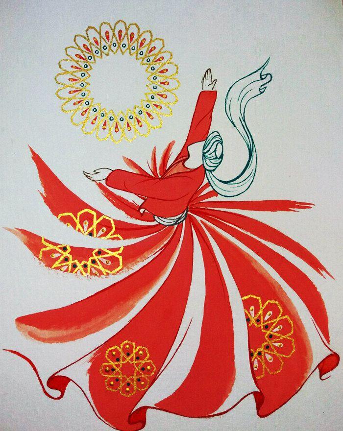 Original Painting Whirling Dervish Sufi Dance Rumi Miniature - AESMPS0012