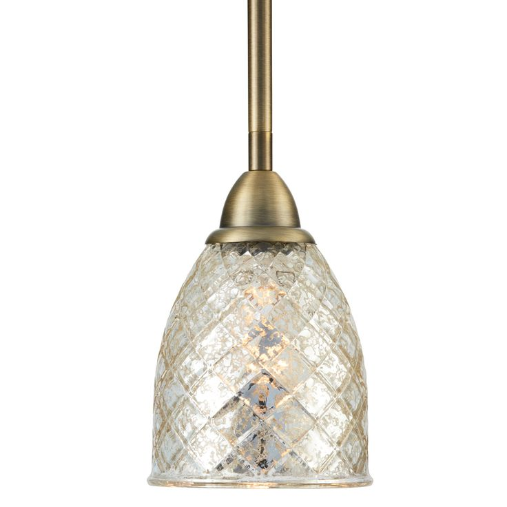 Shop allen + roth Lynlore 4.53-in W Old Brass Mini Pendant Light with Tinted Glass Shade at Lowes.com