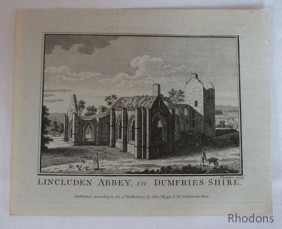 Antique Copper Engraving of Lincluden Abbey In Dumfries-Shire Engraved by  Thornton Published by Alexr