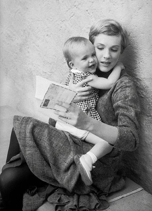 ohrobbybaby:  Julie Andrews with her daughter, Emma, in the sets of The Sound of Music, c. 1964