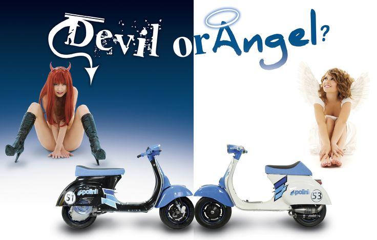 Polini... Devil or Angel?  #polini #angel #devil #black #white #girl #choices #madeinitaly #vespa #tuning #engine #blackandwhite #blue #speed #advertising #memories