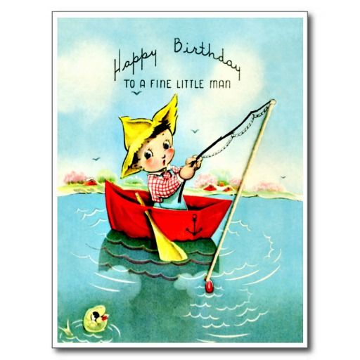 """Little Boy die - Retro Gelukkige Kaart van de Verjaardag vissen De vintage Retro Kaarten van de Verjaardag voor alle leeftijden.   De grappige, Leuke, Gelukkige Kaarten van de Verjaardag voor kinderen, meisjes en jongens, mamma's en dads, grootmoeder en grootvader, broers en zusters, tantes en ooms, neven… en voor vrienden.  Alle kaarten zijn hersteld, de hersteld de smetten, vlekken en de scheur. Personaliseer als u door te gebruiken """"aanpast het"""" knoop dit wenst. Wij hopen u van ons…"""