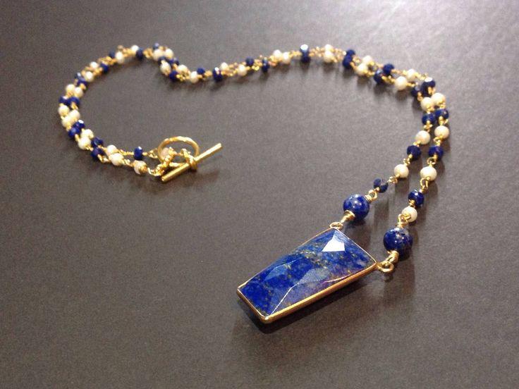 lapis lazuli necklace, lapis necklace, lapis bead necklace, rosary chain necklace, blue beaded necklace,  blue and white necklace by mackandjane on Etsy https://www.etsy.com/listing/269223916/lapis-lazuli-necklace-lapis-necklace