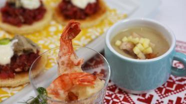 Aperitiefhapjes: soepje met paling, tartaar oester en tempura tijgergarnaal | VTM Koken