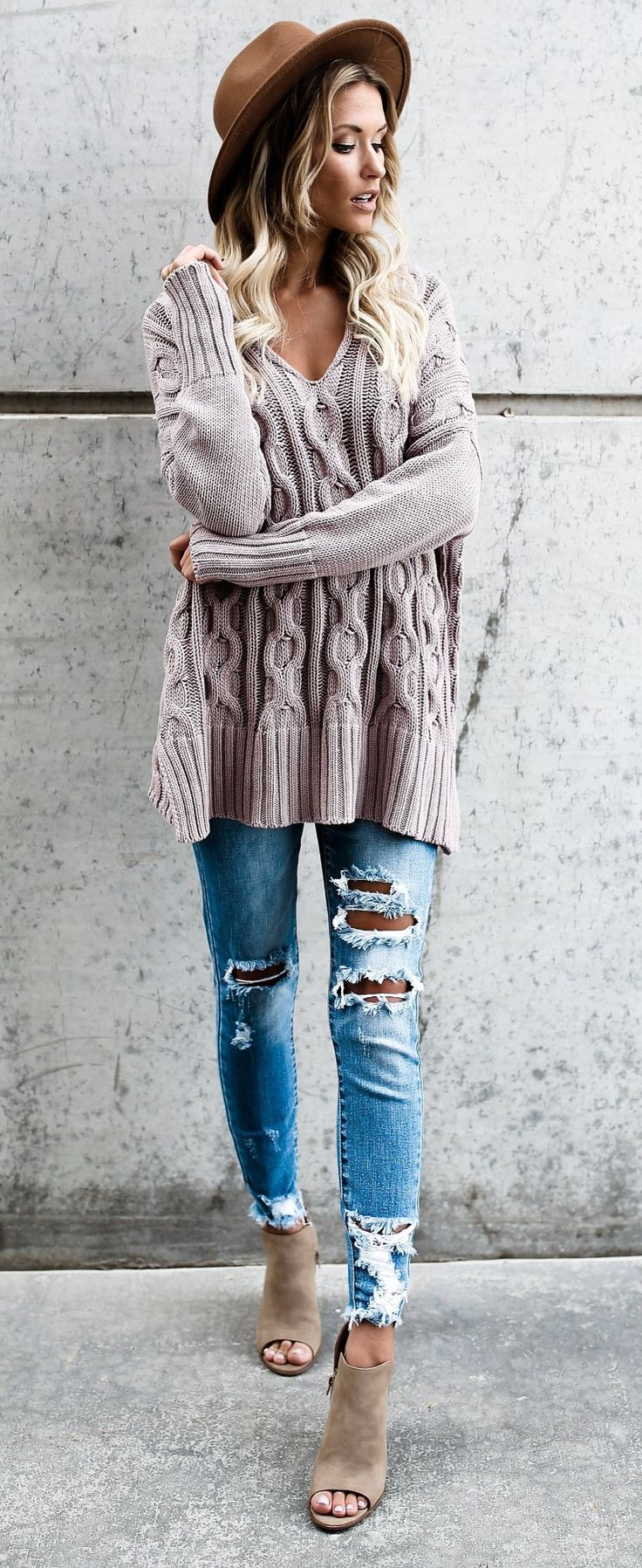 ripped jeans and nude sweater to buy