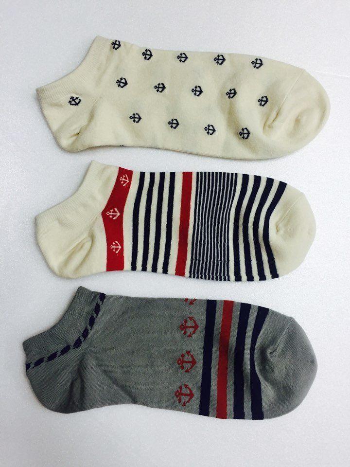 Men Sailor's Anchor & Stripe Marine Pattern Summer Sneakers Ankle Socks_3Options #MIRINE #Casual