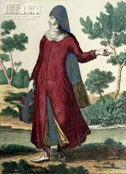 www.villsethnoatlas.wordpress.com (Grecy, Greeks) Unknown artist Greek peasant woman coloured etching, 23 x 17.5 cm