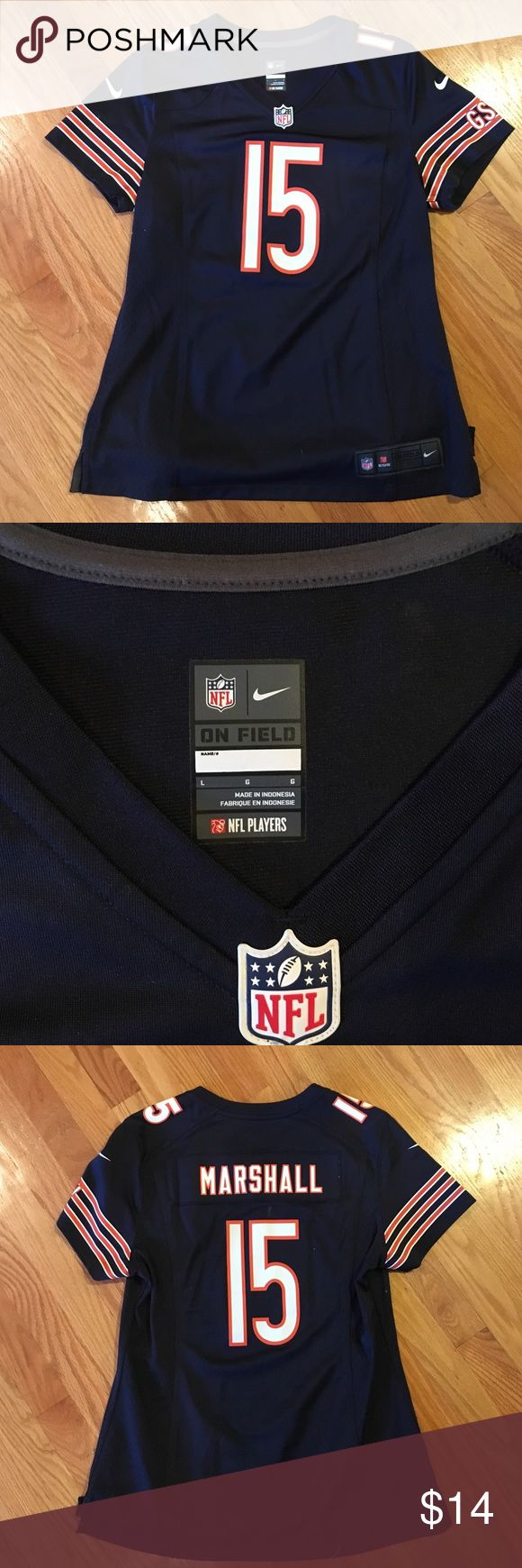 Nike- Chicago Bears- women's football jersey- L Women's football jersey- Chicago Bears- Nike- size L- Marshall #15- like new- great quality- jersey material- 100/poly- from smoke free home Nike Tops Tees - Short Sleeve