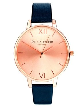Olivia Burton Big Dial Navy Watch With Rose Gold Face Want