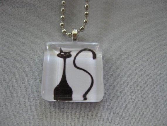 Black cat glass tile art pendant from lisabug's Etsy shop. $7.50