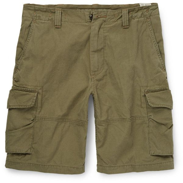 Polo Ralph Lauren Cotton-Canvas Cargo Shorts ($75) ❤ liked on Polyvore featuring men's fashion, men's clothing, men's shorts, mens khaki cargo shorts, mens cargo shorts and mens khaki shorts