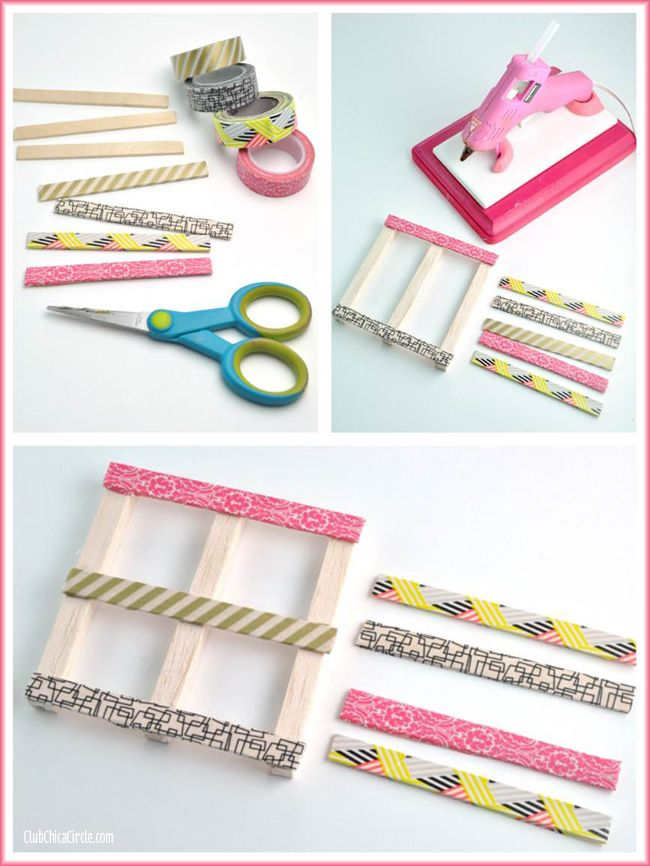 Washi Tape Mini Wood Pallets Craft DIY                                                                                                                                                                                 More