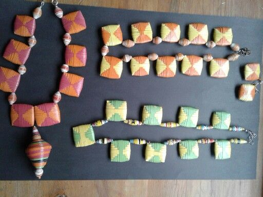 Bushbabies Craftworks : Tribal Spice series. Woven paper beads and cocoons