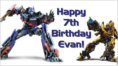 Custom Vinyl Transformers Birthday Party Banner -Choice - A beautiful showpiece for your child's birthday and a wonderful keepsake. Dimensions: 3' x 1.6' Printed on high quality, white 10oz. vinyl, which is flexible material with a matte finish and is fade-resistant, tear-resistant, and flame-retardant. Banners are professionally printed and are shipped rolled. Your banner will never be folded, so it will have no creases. $29.95