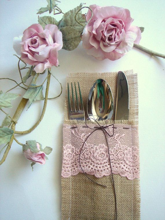 Burlap Flatware holders for weddings, Wedding Table Setting,Rustic Flatware Pockets on Etsy, £115.58