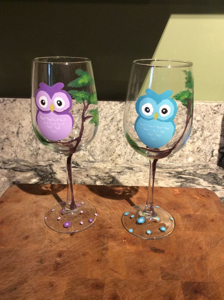 Hand+painted+wine+glass-+owls+by+MotherNatureWorkshop+on+Etsy