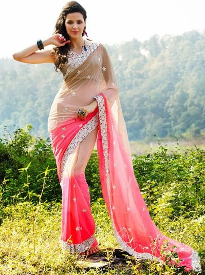 USD 71.32 Brown and Pink Embroidery with Cut Work Chiffon Party Wear Saree 27830