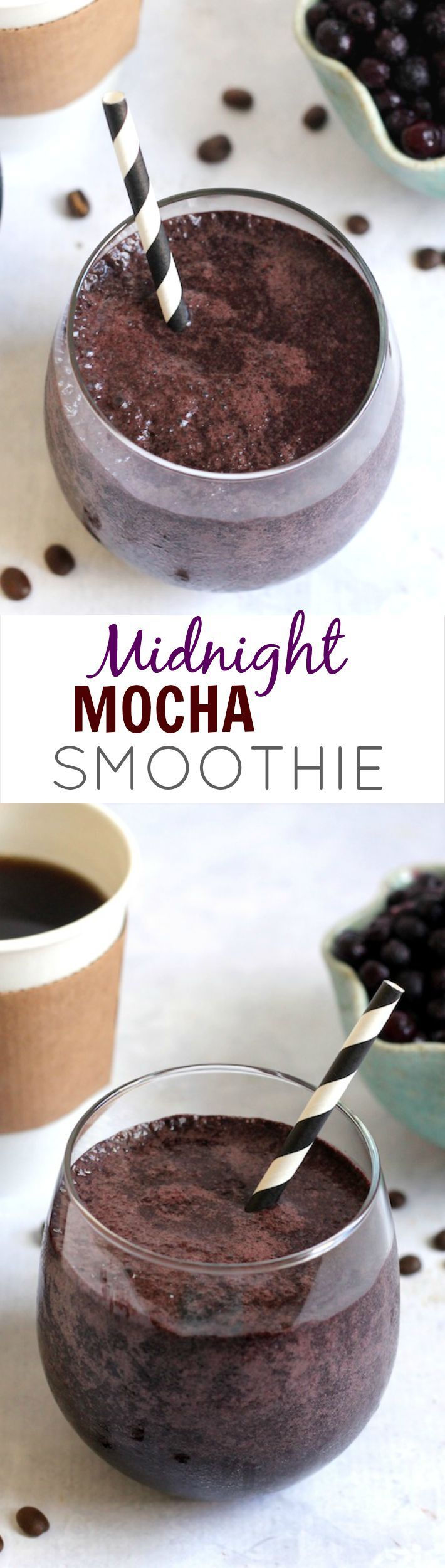 Midnight Mocha Smoothie-- A unexpectedly delicious superfood-packed smoothie with grapes, blueberries, coffee beans, spirulina, and raw cacao. Perfect for a quick, nutrient-dense breakfast!