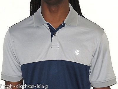 Izod Golf Polo Shirt New $52 Mens UPF 15 Sun Control Wicking Silver Nickle Navy