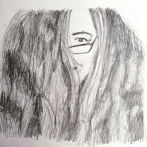 I almost always wear my hair in plaits because this is what happens when I don't. I really liked that picture of myself though because, even though a lot of my face was obscured, you can still tell that I was smiling just from my eye. Was trying really hard to catch that in this sketch.