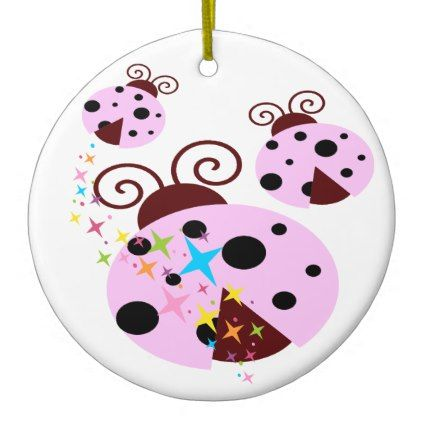 Three pink and black ladybug with stars ceramic ornament - pink gifts style ideas cyo unique