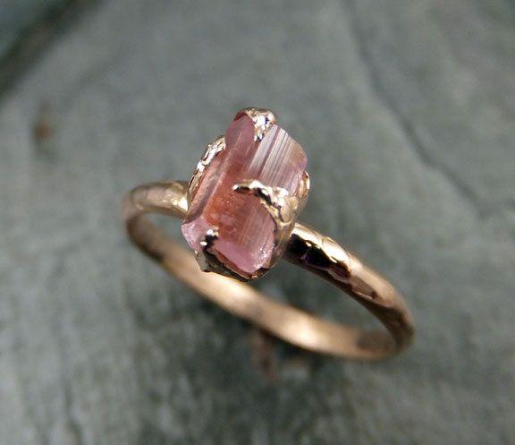 Raw Pink Tourmaline Rose Gold Ring Rough Uncut by byAngeline, $425.00 – Marita Möbuß