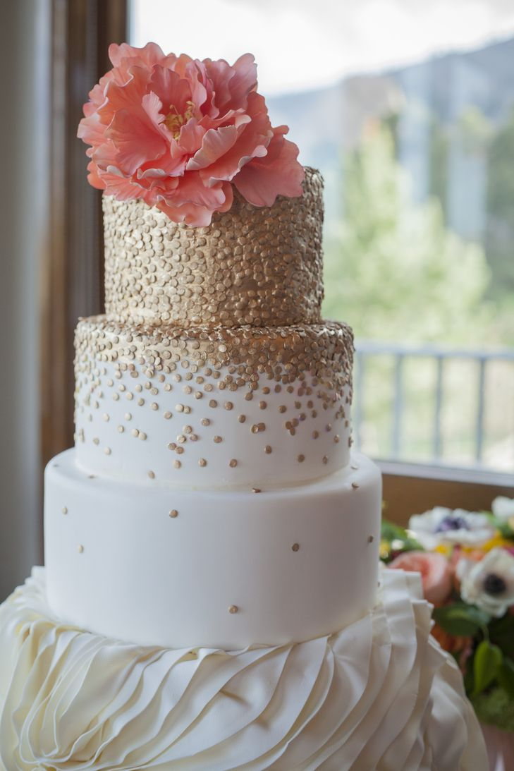 Gold Polka-Dot Wedding Cake With Sugar Peony Topper | Intricate Icings Cake Design https://www.theknot.com/marketplace/intricate-icings-cake-design-denver-co-229310 | BHP Imaging https://www.theknot.com/marketplace/bhp-imaging-laramie-wy-893875