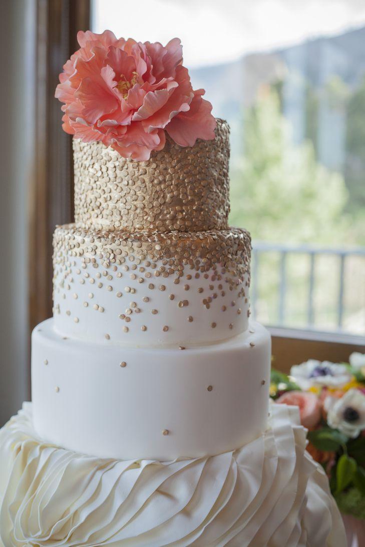 Gold Polka-Dot Wedding Cake With Sugar Peony Topper | Intricate Icings Cake Design https://www.theknot.com/marketplace/intricate-icings-cake-design-denver-co-229310 | BHP Imaging https://www.theknot.com/marketplace/bhp-imaging-laramie-wy-893875