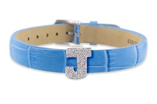 """Diamond Clip On Initial letter """"J"""" with Blue Leather Bracelet CoolStyles. $360.75. Save 35% Off!"""