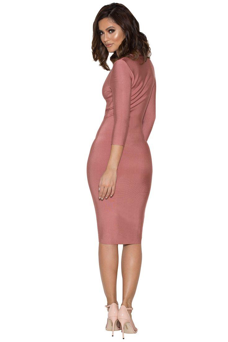 Clothing : Bandage Dresses : 'Ila' Rose Pink Bandage Dress