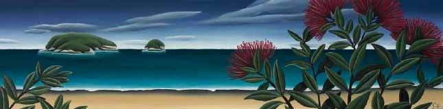 Diana Adams - Pohutukawa Beach for Sale - New Zealand Art Prints