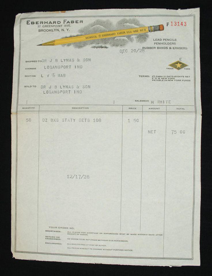 Vintage Eberhard Faber Mongol Pencil Order Receipt - 1928 #EberhardFaber