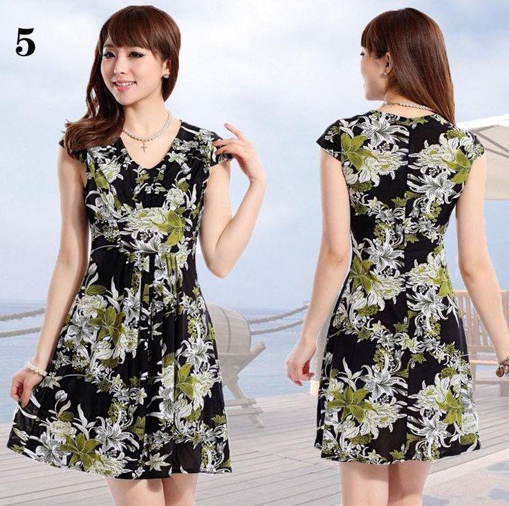 Hot! 2017 summer plus size plus size one-piece dress slim thin high waist V-neck plus size dress beach dress L--XXXXL