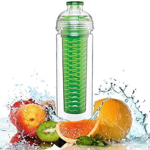FinestTM Water Bottle Fruit Infuser - Sport Water Bottle with Leak Proof Flip Top - BPA Free Great for Sports and Daily Use