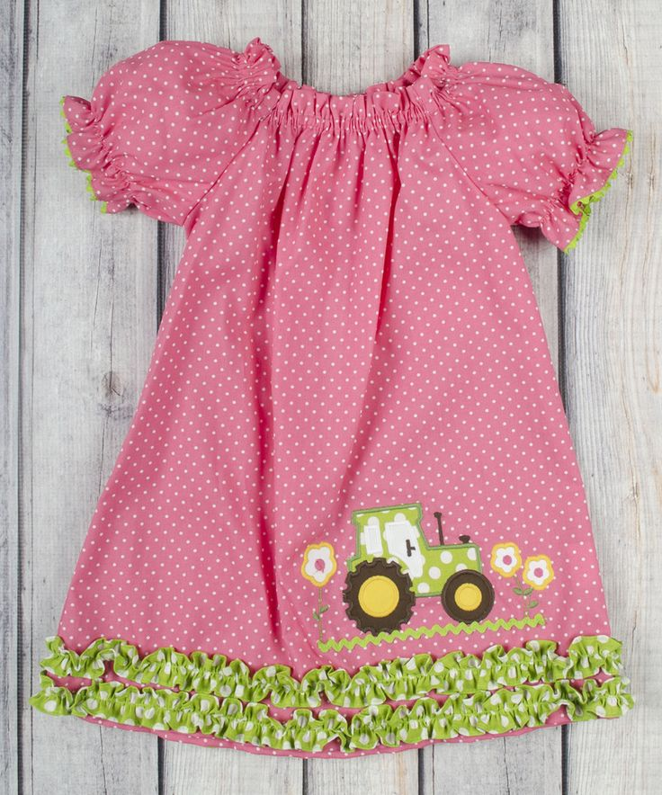 Another great find on #zulily! Hot Pink Polka Dot Tractor Dress - Infant, Toddler & Girls by Stellybelly #zulilyfinds