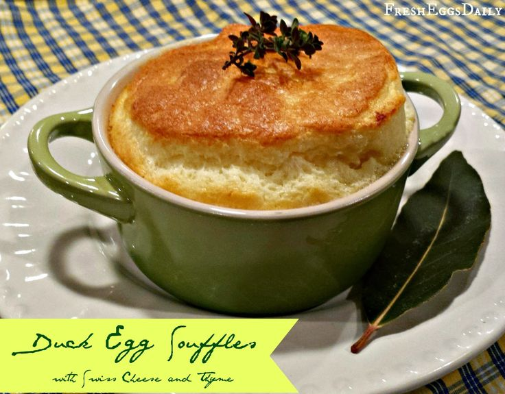 Individual Duck Egg Souffles with Swiss Cheese and Thyme