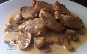 Receta casera de solomillo de cerdo con salsa de champiñones