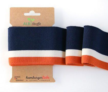 Elastische Manschette Me Cuffs: College – Col.09 Blue Orange – Stoffe in …   -… – Selber Machen