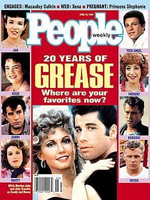 photo | Grease, John Travolta Cover, Movies On Covers, Olivia Newton-John Cover, Where Are They Now?, Didi Conn, Dinah Manoff, Frankie Aval...