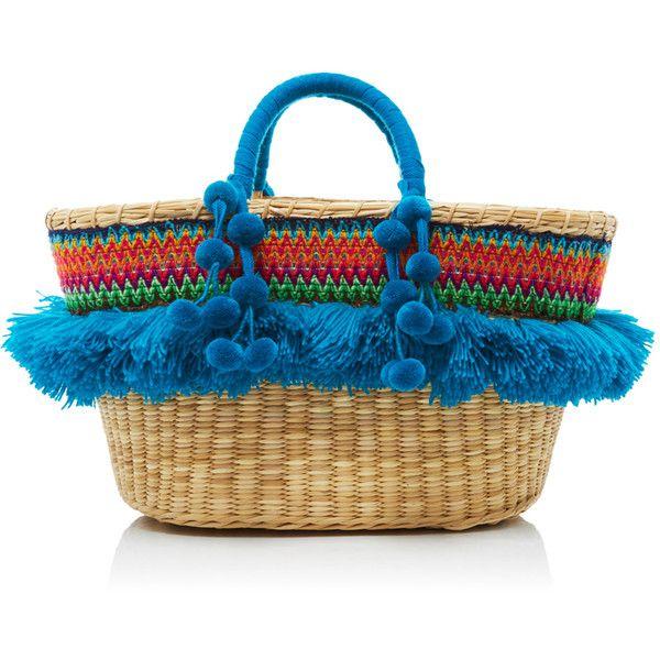 Nannacay Cristina Tote (540 BGN) ❤ liked on Polyvore featuring bags, handbags, tote bags, handbag tote, fringe tote bag, blue tote handbags, blue tote and handbags tote bags