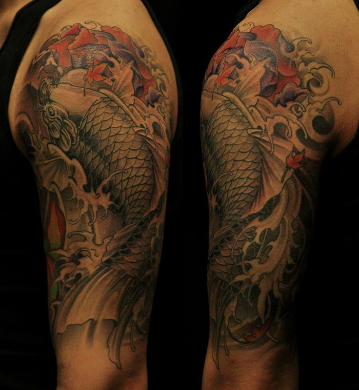 Chronic ink tattoo toronto tattoo half sleeve koi fish for Grey koi fish
