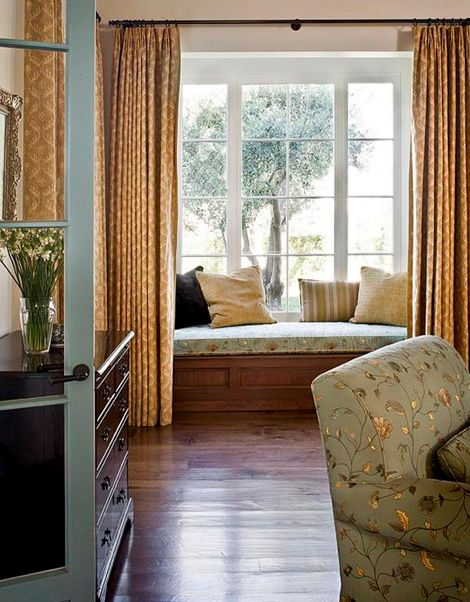 Curtains for window seat area simple elegance holiday for Window seat curtains