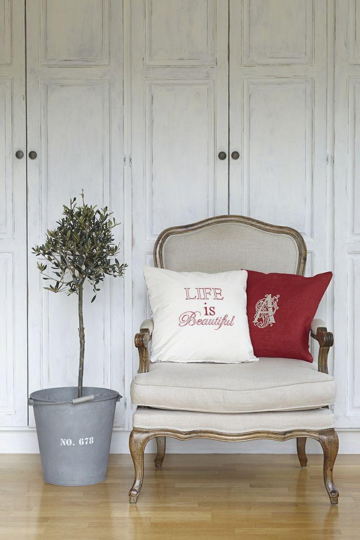 2 cushions called 'Life is Beautiful' &  'Monogram'