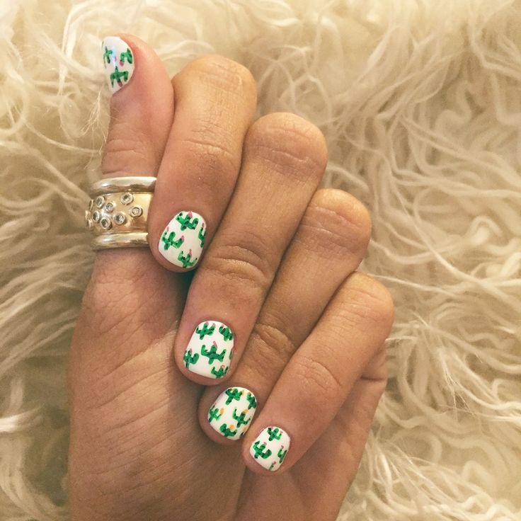 Cactus boho nail art bohemian nails with cacti